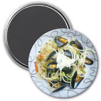 Seafood Mussels Pasta Noodles  Refrigerator Magnet