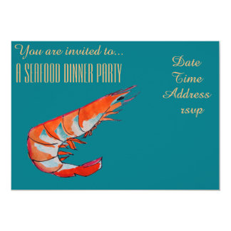 Seafood shrimp prawn BBQ dinner party Card