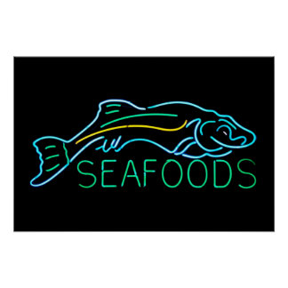 Seafoods with Fish Neon Sign