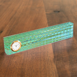 Seagrass Desk Nameplate with Clock