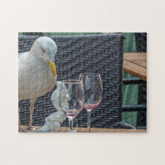 Seagull and empty glasses photo puzzle