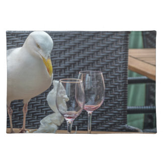 Seagull and empty glasses placemat
