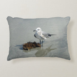 Seagull and Seaweed on Beach Decorative Cushion