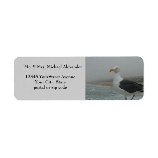 Seagull at Beach Foggy Day Return Address Label