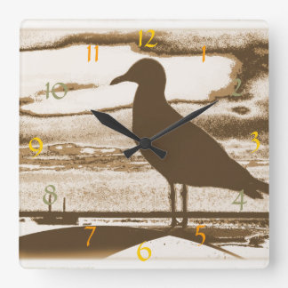 Seagull at Dusk by the Sea Shore Wall Clock