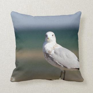 Seagull at Ocean beach house decor throw pillow