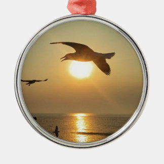 Seagull at Sunset Metal Ornament