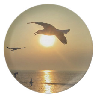 Seagull at Sunset Plate
