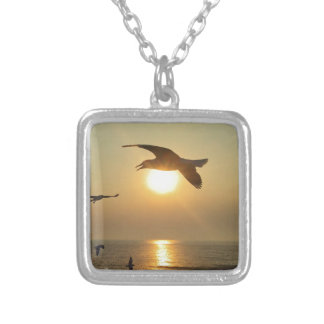 Seagull at Sunset Silver Plated Necklace
