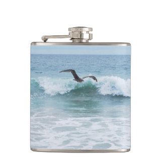 Seagull at the Beach in California Hip Flask