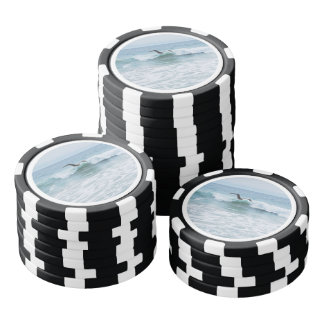 Seagull at the Beach in California Poker Chips