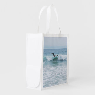 Seagull at the Beach in California Reusable Grocery Bag