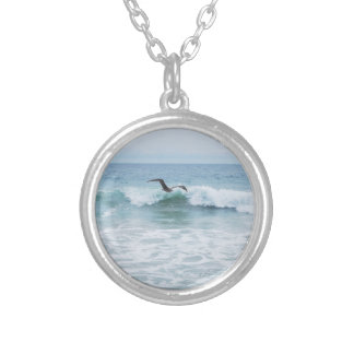 Seagull at the Beach in California Silver Plated Necklace