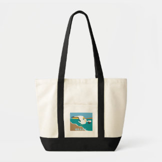 SEAGULL AT THE BEACH TOTE BAG ILLUSTTRATION