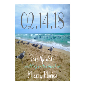 Seagull Beach Save the Date thin Magnet Magnetic Invitations