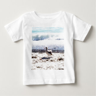 seagull by the ocean on the beach picture baby T-Shirt
