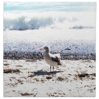 seagull by the ocean on the beach picture napkin