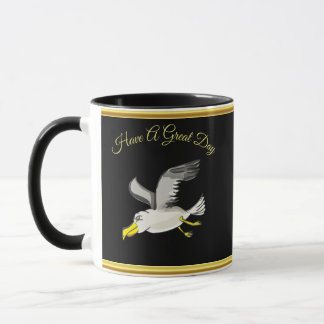 Seagull flying over head with a gold foil design mug