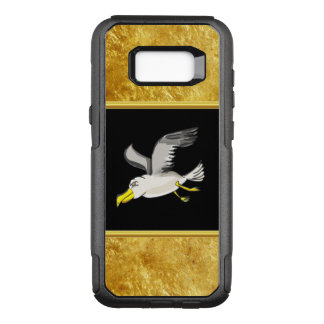 Seagull flying over head with a gold foil design OtterBox commuter samsung galaxy s8+ case