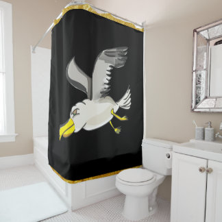 Seagull flying over head with a gold foil design shower curtain