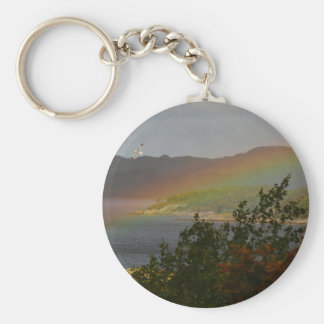 Seagull Flying past a Rainbow in Ardnamurchan Key Ring