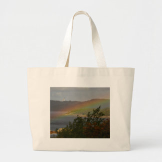 Seagull Flying past a Rainbow in Ardnamurchan Large Tote Bag