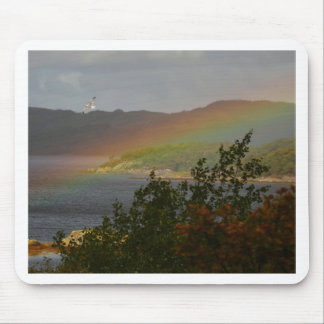 Seagull Flying past a Rainbow in Ardnamurchan Mouse Pad