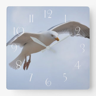 Seagull flying square wall clock