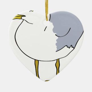 Seagull Illustration Ceramic Ornament