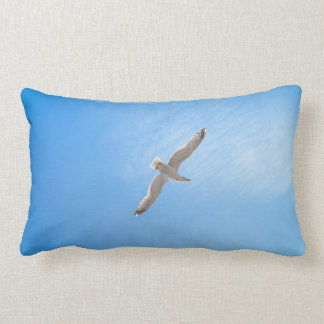 Seagull in Flight Cotton Lumbar Pillow