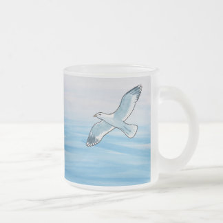 Seagull in Flight Frosted Glass Coffee Mug