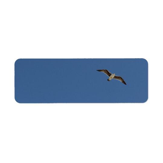 Seagull in flight return address label