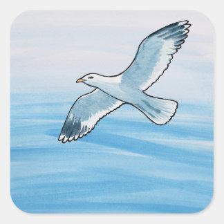 Seagull in Flight Square Sticker