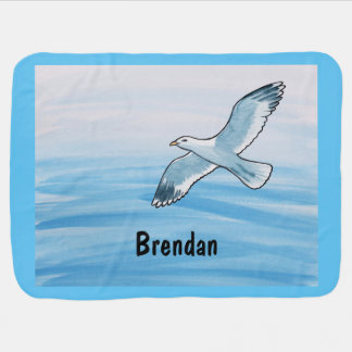 Seagull in Flight with Name Baby Blanket
