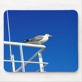 Seagull is sitting on the top of ferryboat mouse pad