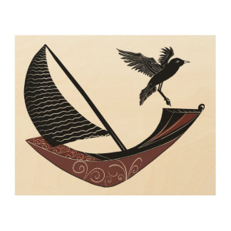 Seagull landing on a boat at sea wood wall art