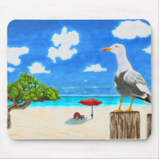 Seagull on a sunny beach under blue sky mouse pad