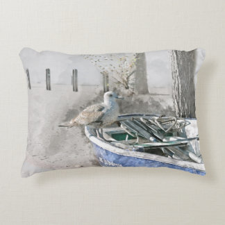 Seagull on Boat Watercolor Decorative Cushion
