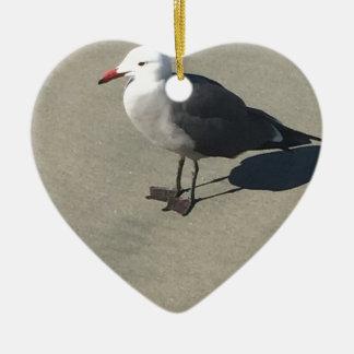 Seagull on Sandy Beach Ceramic Ornament