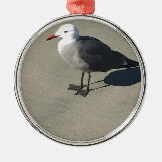 Seagull on Sandy Beach Metal Ornament