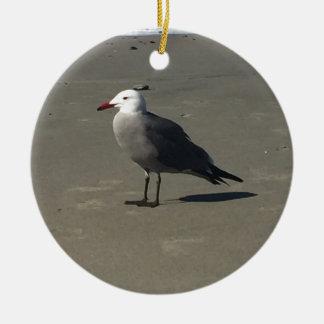 Seagull on the Beach Ceramic Ornament