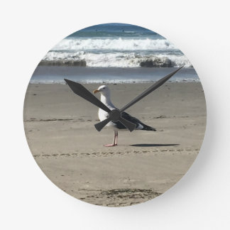 Seagull on the Beach Round Clock