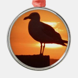 Seagull Sunset Metal Ornament