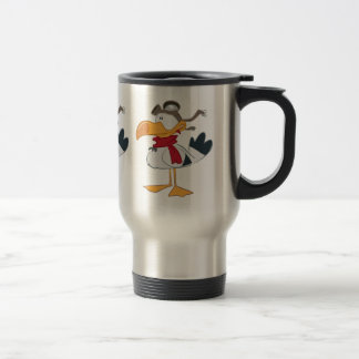 SEAGULL WITH PILOT GOGGLES TRAVEL MUG
