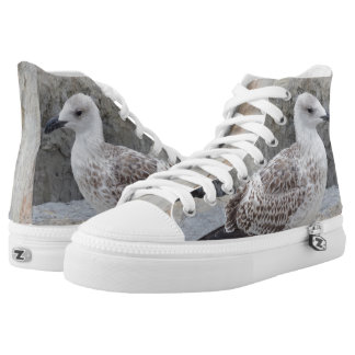 Seagull Zipz High Top Shoes,White Printed Shoes