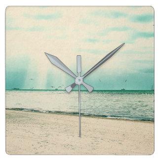 Seagulls and Gazebo at Higgs Beach Key West FL Square Wall Clock