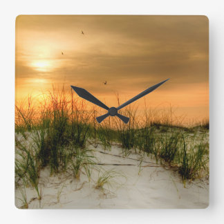 Seagulls at Sunrise Square Wall Clock