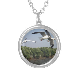 Seagulls at the beach silver plated necklace