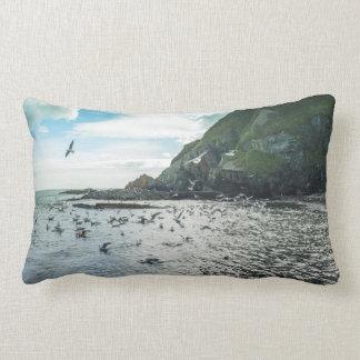 Seagulls flying over the bay lumbar cushion