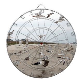 Seagulls Flying, Standing and Eating on the Beach Dartboard